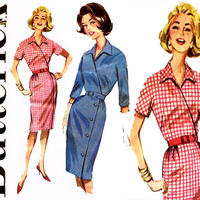 1960s Wrap Dress Pattern Bust 36 Uncut Butterick 9933 Day Evening Cocktail Surplice Sheath Kimono Sleeve Dress Womens Vintage Sewing Pattern