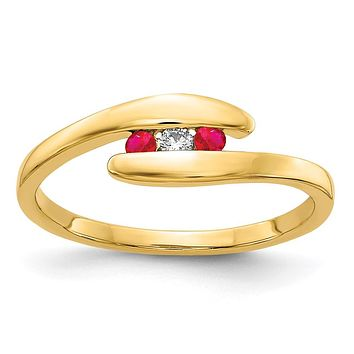 14K Yellow Gold Ruby and Real Diamond 3-stone Ring