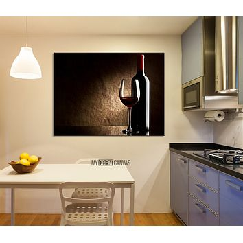Large Wall Art Red Wine and Wine Bottle Giclee Canvas Art Print Wineglass Art Canvas Print
