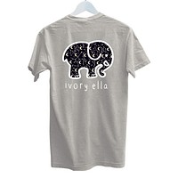 Ivory Ella Trending Leisure Elephant Print Short Sleeve Round Collar T-Shirt Top Grey