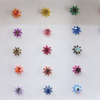 Gaga Multicolor Rhinestones Star Bindis In One Pack/ Indian India Bindis/Self Adhesive/ Fake Tragus Nose Stud/Bindi Jewels/ Bindi Sticker