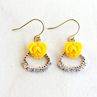 Whimsical Rhinestones Earrings. Yellow Rose, Blue Rose, Peach Rose, Delicate Jewelry, Dainty, Weddings,Sparkle,Fall, Bridesmaids, Holidays