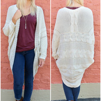 Into The Wild Ivory Oversized Crochet Knit Cocoon Cardigan