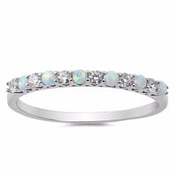 Sterling Silver CZ Lab White Opal Simulated Diamond Quarter Eternity Ring