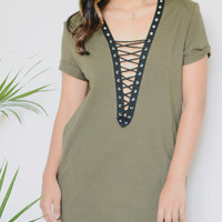 Paulina Lace Up Tunic (Olive)