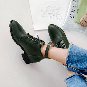 Lace Up Buckle Women's Chunky Heels Ankle Boots