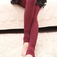 Design 303 - Cranberry Ribbed Thickening Leggings