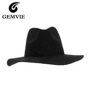 new year gifts Faux Wool Fedoras Hats Women Vintage Solid Mens Fedora Floppy Wide Brim Winter Caps
