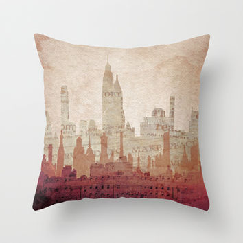 Paper City Throw Pillow by Ally Coxon
