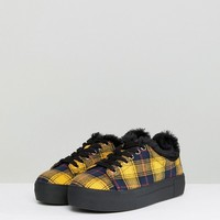 River Island Check Print Lace Up Sneakers at asos.com