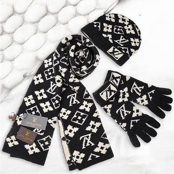 LV Louis Vuitton women's Man's winter warm fashion wild scarf Cap Hat gloves three-piece