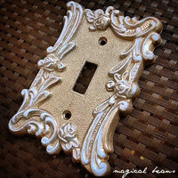 Vintage Rose Light Switch Plates - Create Your Own! Custom Painted Cottage Chic French Country Silver Ornate Light Switch Plates