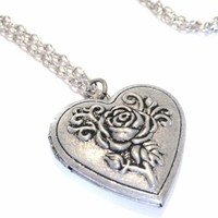 Heart Shaped Photo Locket Necklace with Vintage Style Rose Designs