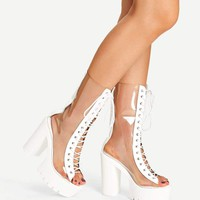 Jbellan Lace-Up Clear Boots