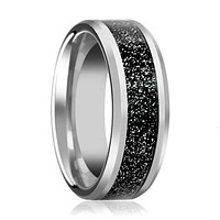 Men's Silver Tungsten Wedding Band with Black Sandstone Carbon Fiber Inlay & Beveled Edges - 8MM