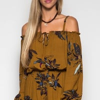 Caramel Floral Off Shoulder Romper