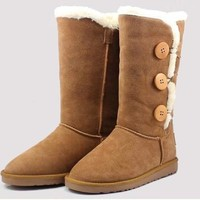 2015 New Women lady girl australia high genuine Leather Snow warm winter triply button Boots Shoes motorcycle boots [8833491532]