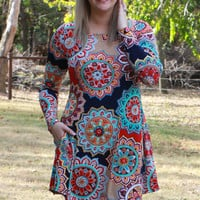 One Step Closer Circle Print Tunic With Pockets ~ Red/Navy ~ Sizes 4-12