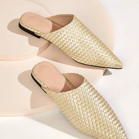 Point Toe Woven Flat Mules