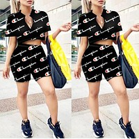 Champion Newest Fashionable Women Casual Print Short Sleeve Top Shorts Set Two-Piece Sportswear