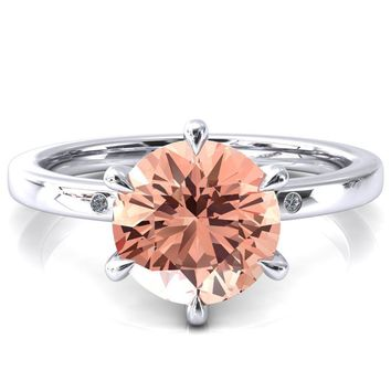 Maise Round Champagne Sapphire 6 Prong Diamond Accent Engagement Ring