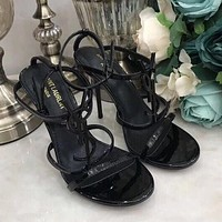 Yves Saint Laurent YSL classic hot sale black retro ladies high heel sandals Shoes