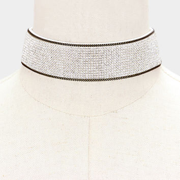 """13"""" clear crystal collar choker necklace 1.25"""" wide 13 lines"""