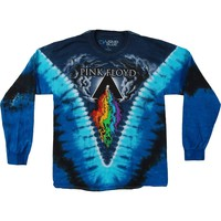 Pink Floyd Men's  Prism River Tie Dye  Long Sleeve Multi