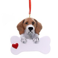 Personalized Ornament BEAGLE Polyresin Bone Heart Bet Friend Rm558
