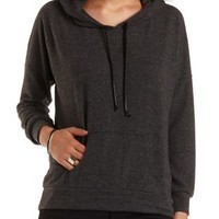 Faux Leather Drawstring Hoodie by Charlotte Russe - Charcoal