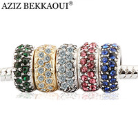 Free shipping crystal diy beads fit pandora original bracelet multicolor full crystal spacer beads charms diy jewelry for women