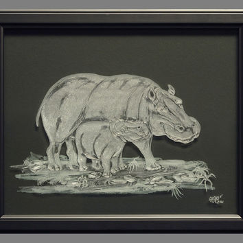 Engraved Glass Hippos, Mother & Baby (framed).
