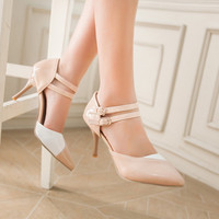 Pointed Toe Double Ankle Straps Spike Heels Women Sandals 6632