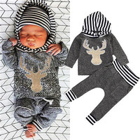 Newborn Baby Boys Fashion Cool 2pcs Outfit Gray Long Sleeve Striped Hoodie Deer T-shirt Tops+ Pants Playsiut Set