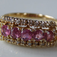 Pink White Cubic Zirconia Gold-Plated 925 Sterling Silver Ring