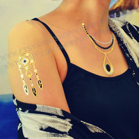 Peacock feathers,Necklace,Earrings,Flash gold and silver temporary tattoos,finger wrist arm neck Waterproof tattoo sticker women