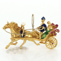 Vintage 18 Karat Yellow Gold Cultured Pearl Ruby Horse & Carriage Brooch Pendant Estate Jewelry