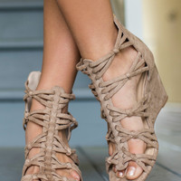 Braid It Up Taupe Suede Braided Wedges