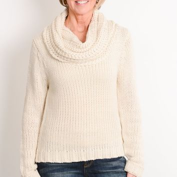 Ivory Cable Knit Cowl Sweater
