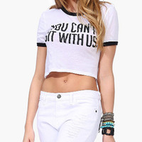 White Graphic Print Short Sleeve Cropped Top
