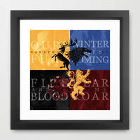 Game of Thrones Framed Art Print by Rose's Creation