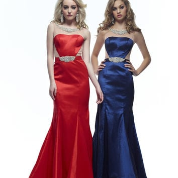 Riva R7483 In Stock Red Sz 00 Sheer Illusion Jeweled Mermaid Prom Dress Evening Gown