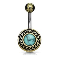 BodyJ4You Belly Ring Button Navel Bar Antique Shield Tribal Turquoise Stone Piercing Jewelry