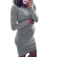 2018 Maternity Dresses Pregnant Dress Long Sleeve Sexy Mini Dress Maternity Clothes For Pregnant Clothing Mom Vestidos Gravida