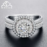 MDEAN White & Rose Gold Color AAA Zircon Wedding Rings for Women Wedding Jewelry accessories Bague Bijoux Size 5-12 H1042