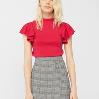 Check wrap skirt - Women | MANGO USA