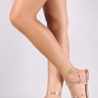 Liliana Clear Studded Cage Metallic Flat Sandal