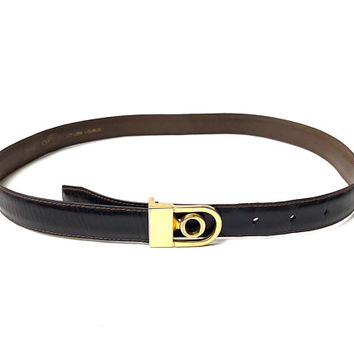 OROTON!!! Vintage 1980s 'Oroton' dark chocolate brown, men's leather belt with gold prong logo buckle