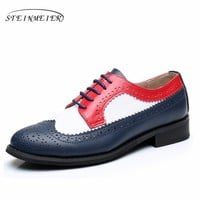 women flat leather oxford shoes woman handmade flat red white blue 2017 sping vintage British style oxfords shoes for women fur