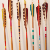 SPECIAL// 5 Vintage Painted Wood Arrows. Decorative Arrows. Wooden Archery Arrows. Retro Graphics Colorful Feather Arrows Instant Collection